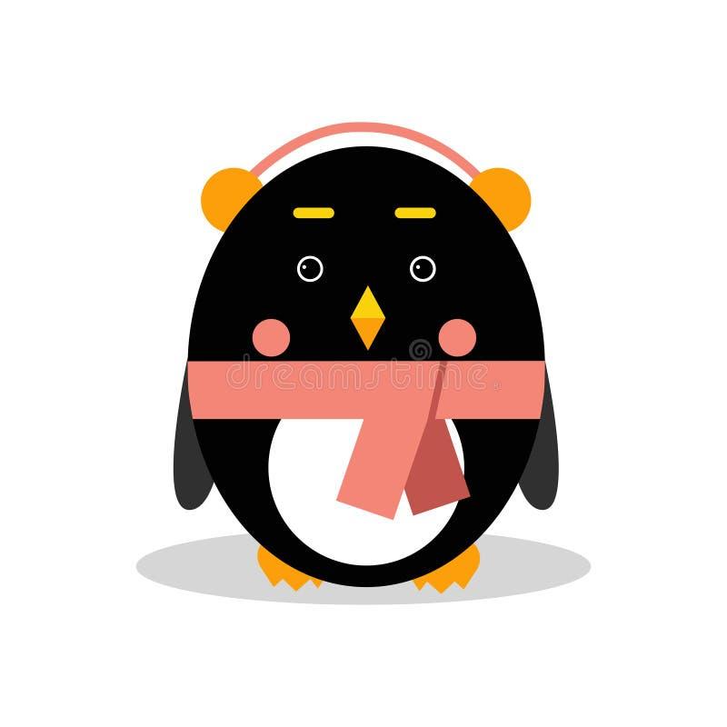 Наушники милого характера пингвина шаржа нося в геометрической иллюстрации вектора формы иллюстрация штока