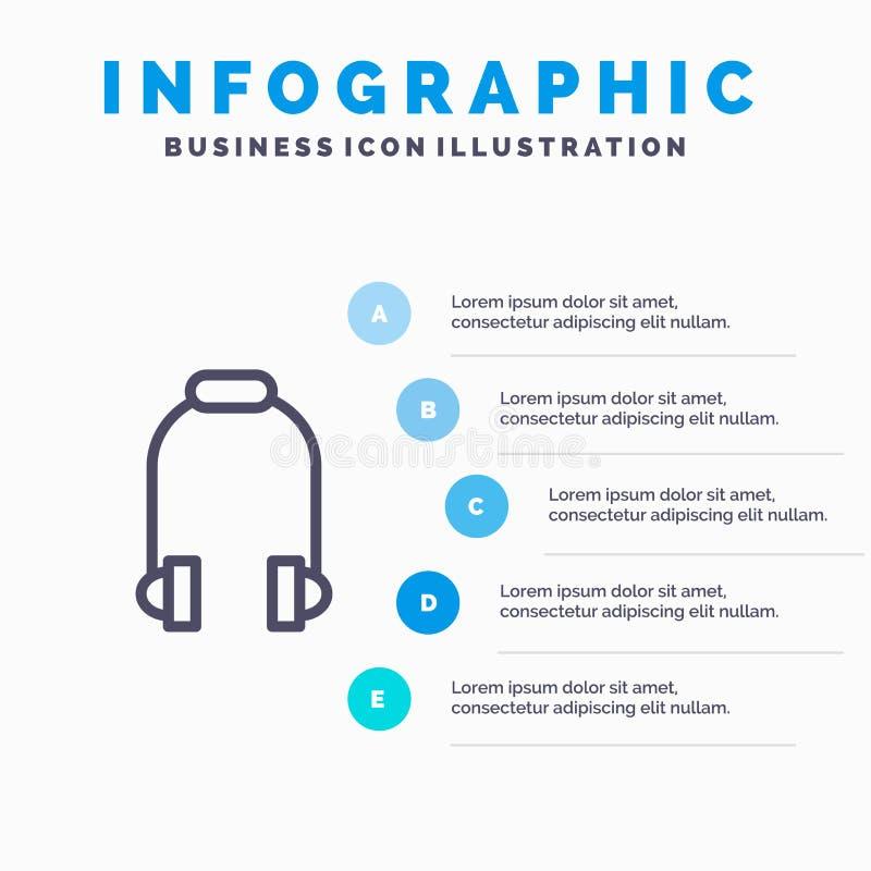 Наушники, наушник, телефон, линия значок музыки с предпосылкой infographics представления 5 шагов бесплатная иллюстрация