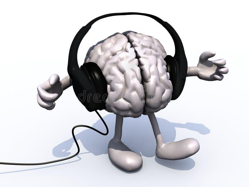 Наушники на большом мозге с оружиями и ногами бесплатная иллюстрация