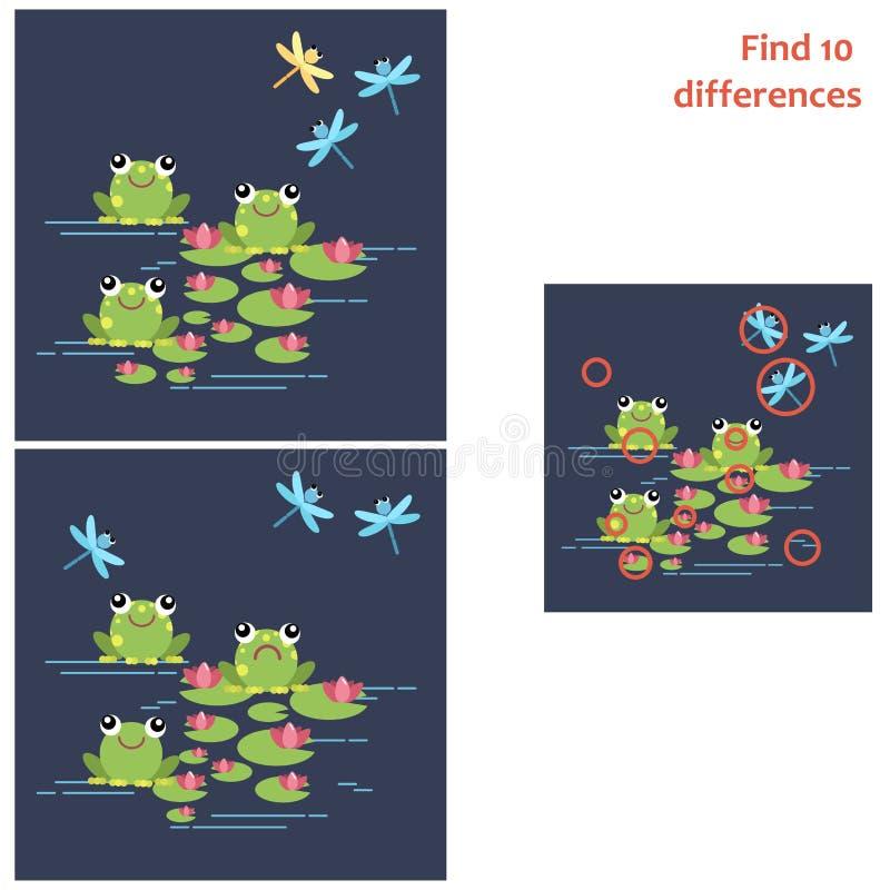 находка 10 разниц Воспитательная игра для детей иллюстрация штока