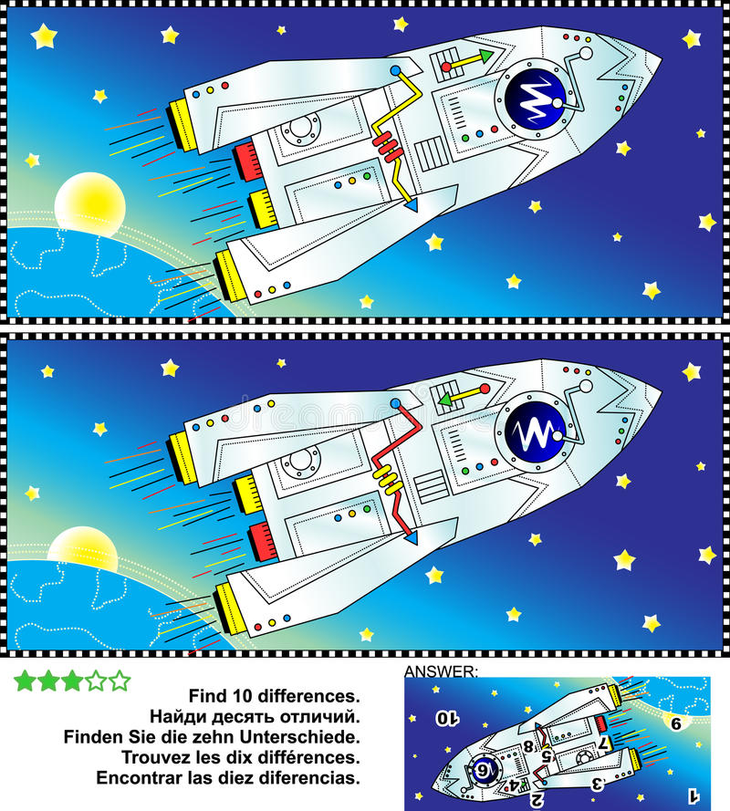 Находка космического исследования тематическая головоломка изображения разниц иллюстрация штока