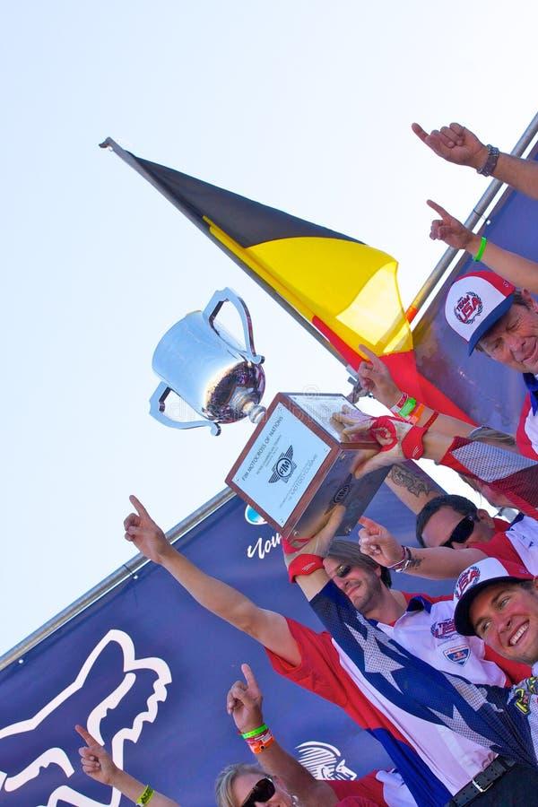 нации motocross объениняются в команду США стоковое фото