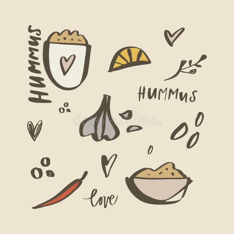Национальная еда Израиля r Ингредиенты Hummus бесплатная иллюстрация