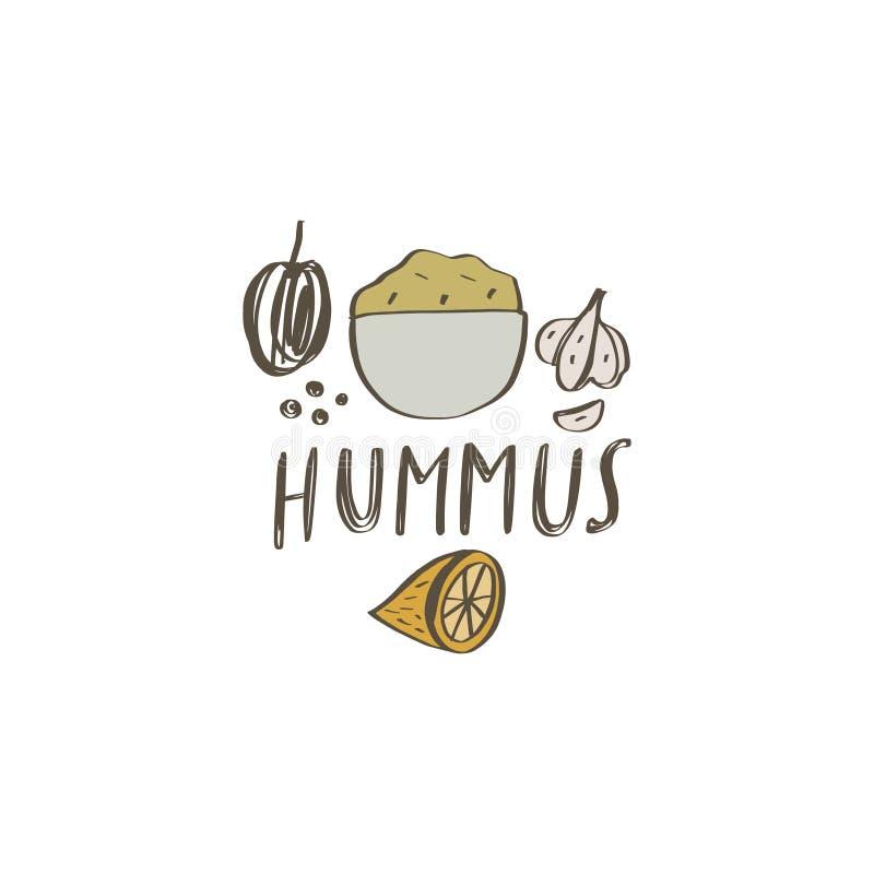 Национальная еда Израиля r Ингредиенты Hummus иллюстрация штока
