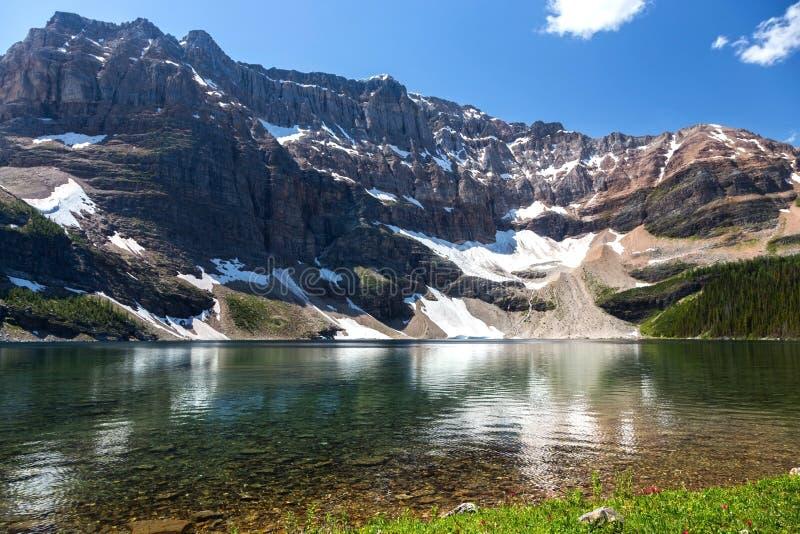 Национального парка Banff горных пиков воды озера скарабе летнее время скалистых гор изумрудно-зеленого изрезанного канадское стоковые изображения rf