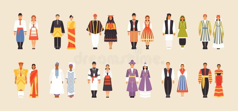 Национальные костюмы Украины, Малайзии, Перу, Польши, Афганистана, Узбекистана, Шри-Ланка, Сенегала Румынии Казахстана Нидерланд бесплатная иллюстрация