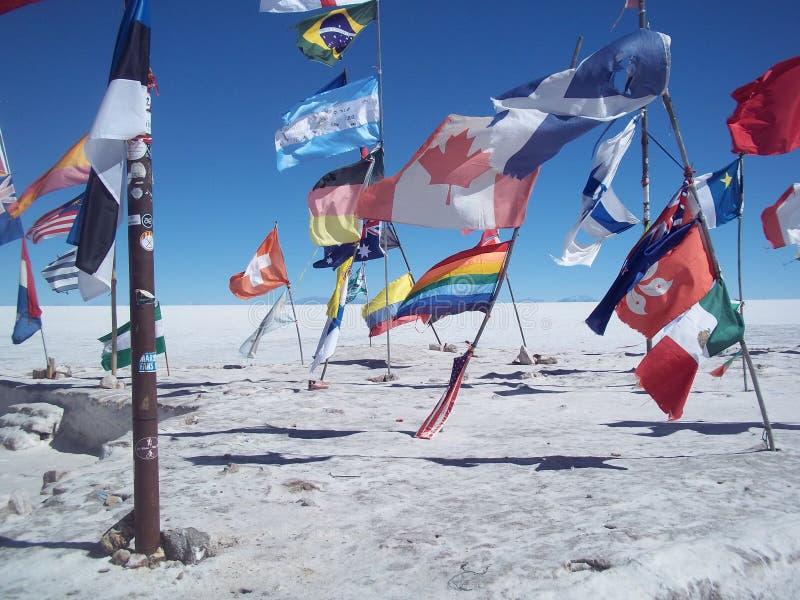 Национальные флаги, который подвергли действию в пустыню соли Uyuni стоковые изображения rf