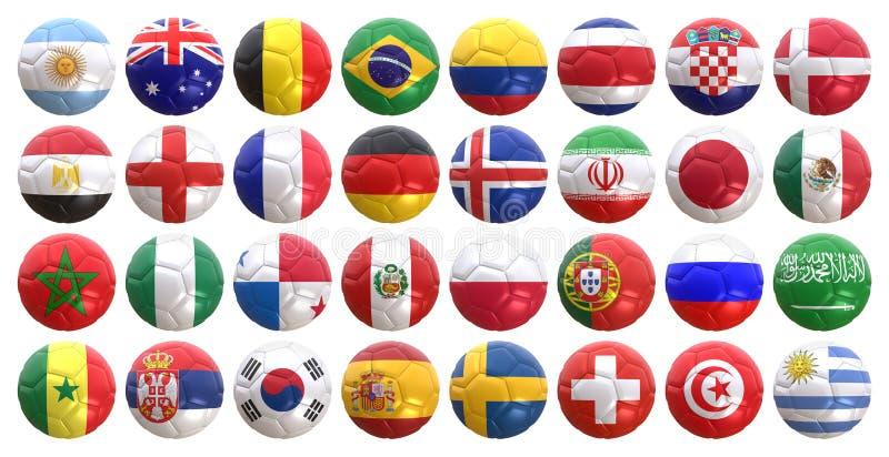 Национальные флаги на шарике футбола иллюстрация вектора