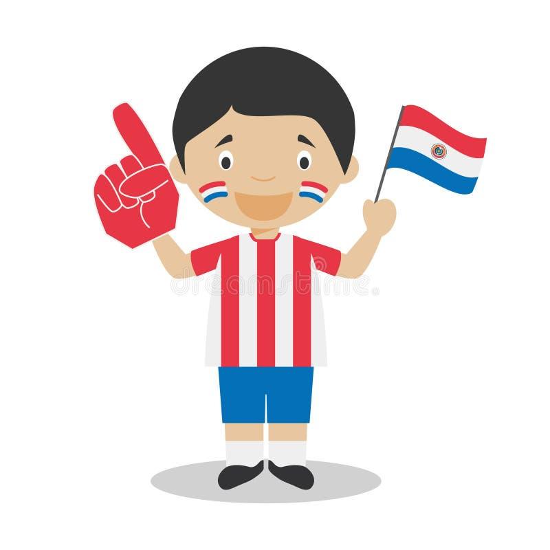Национальный вентилятор команды спорта от Парагвая с иллюстрацией вектора флага и перчатки иллюстрация штока