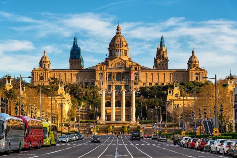 Национальный дворец музея изобразительных искусств Montjuic в Барселоне, Каталонии, Испании стоковая фотография rf