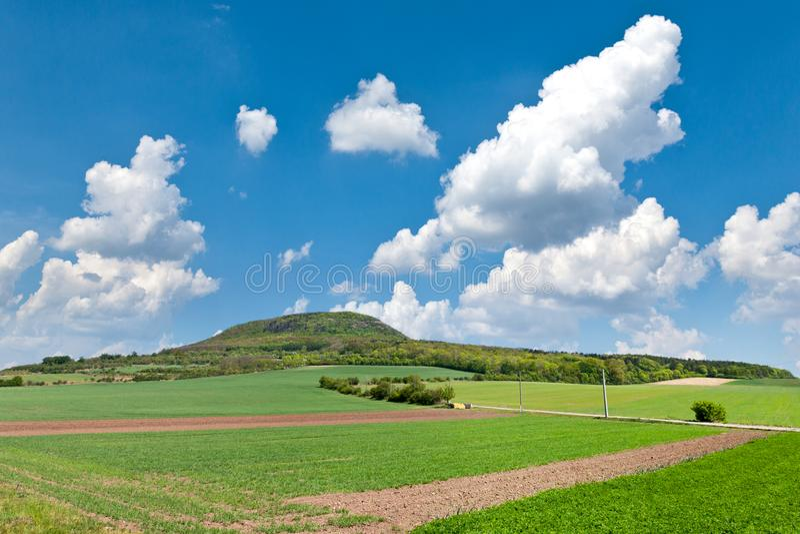 Национальный мистический сулой холма, центральная Богемия, чехия - ландшафт весны с зелеными полями и голубым небом с облаками стоковая фотография rf