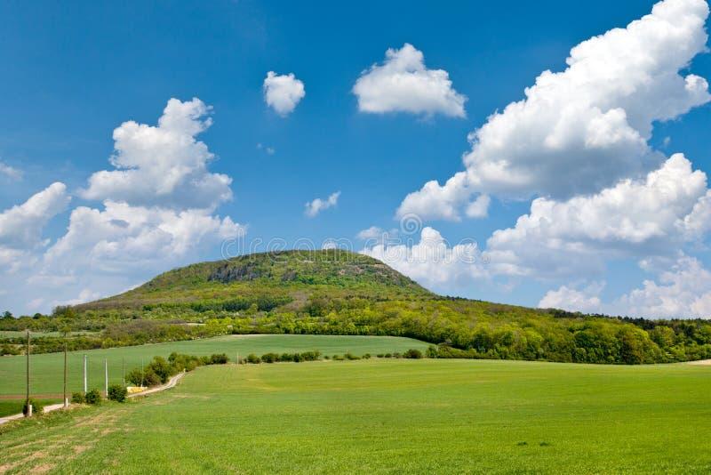 Национальный мистический сулой холма, центральная Богемия, чехия - ландшафт весны с зелеными полями и голубым небом с облаками стоковые изображения