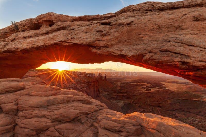 Национальный парк Canyonlands восхода солнца свода мезы стоковая фотография rf