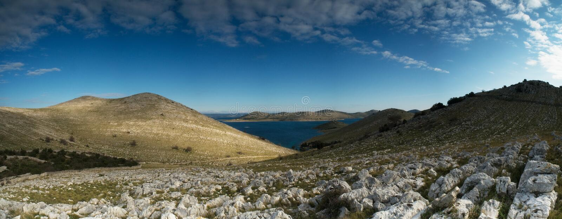 Национальный парк Kornati Ландшафт панорамы Хорватия стоковое изображение
