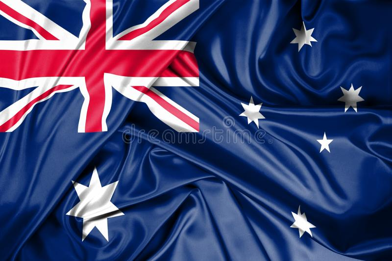 Национальный флаг Австралии поднял outdoors с небом в предпосылке Торжество дня Австралии стоковые фото