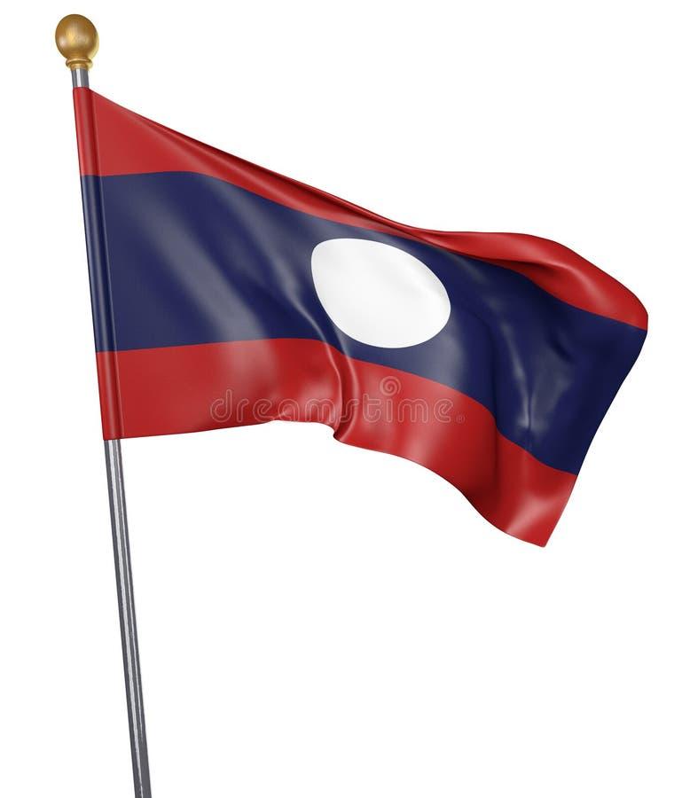 Национальный флаг для страны Лаоса изолировал на белой предпосылке бесплатная иллюстрация