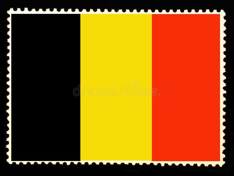 Национальный флаг иллюстрации Бельгии Официальные цвета и пропорция флага Бельгии Старый штемпель почтового сбора изолированный н бесплатная иллюстрация