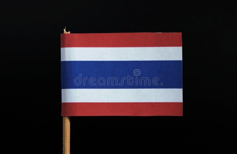 Национальный флаг Кингдом Оф Тюаиланд на зубочистке на черной предпосылке 5 горизонтальных нашивок красного, белый, голубой, белы стоковые изображения