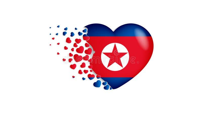 Национальный флаг Корейской Северной Кореи в иллюстрации сердца С любовью к стране Корейской Северной Кореи Национальный флаг мух иллюстрация вектора
