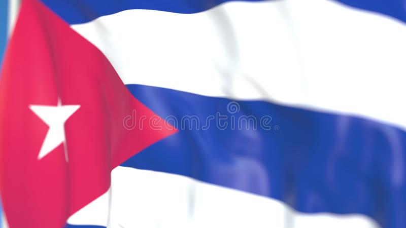 Национальный флаг летая конца-вверх Кубы, перевода 3D иллюстрация штока