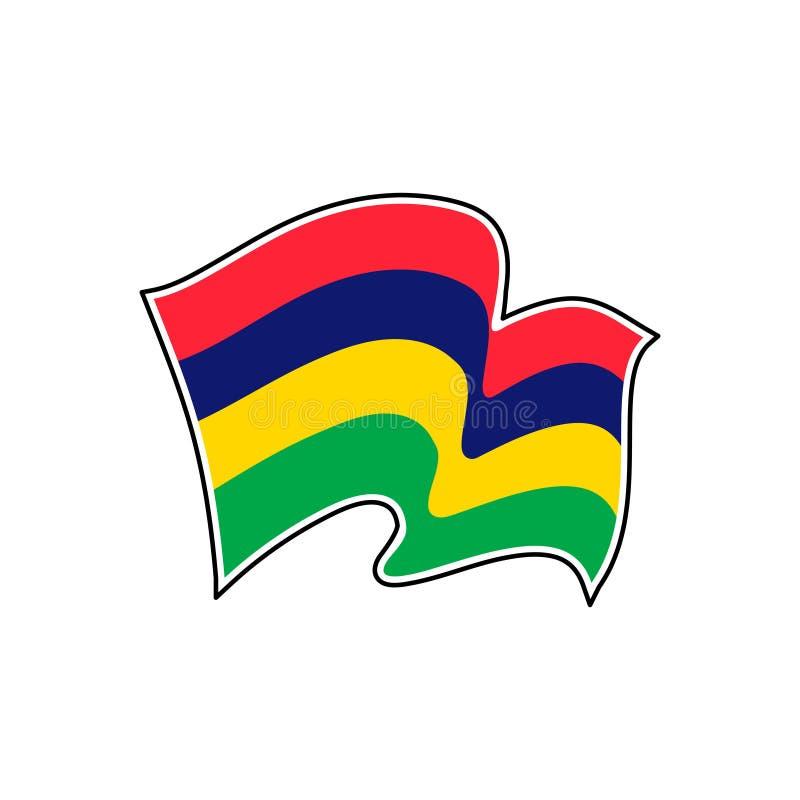 Национальный флаг Маврикия r Порт Луи иллюстрация вектора