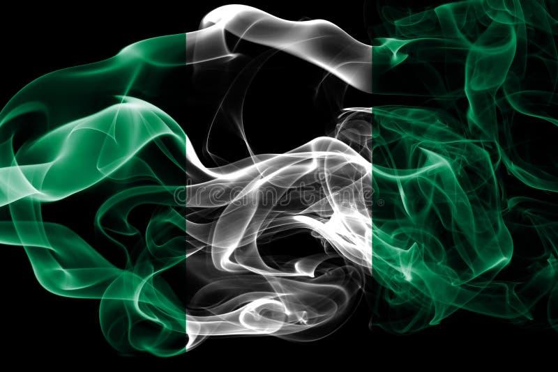 Национальный флаг Нигерии сделал от покрашенного изолированного дыма на черной предпосылке Абстрактная шелковистая предпосылка во стоковые фото