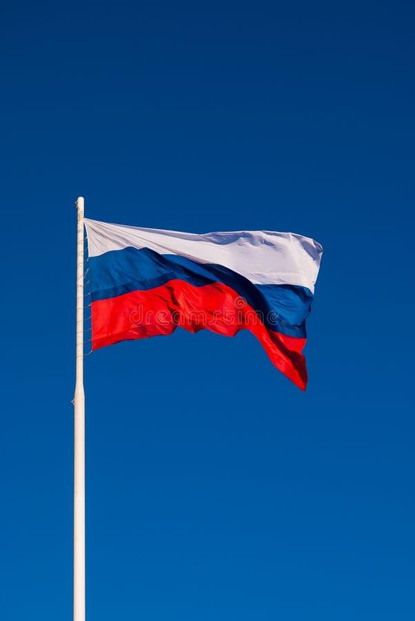 Национальный флаг России на ветре флагштока порхая против голубого неба Россия стоковое изображение rf