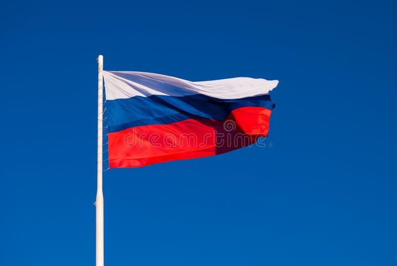 Национальный флаг России на ветре флагштока порхая против голубого неба Россия стоковые изображения rf