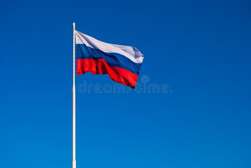 Национальный флаг России на ветре флагштока порхая против голубого неба Россия стоковые фото