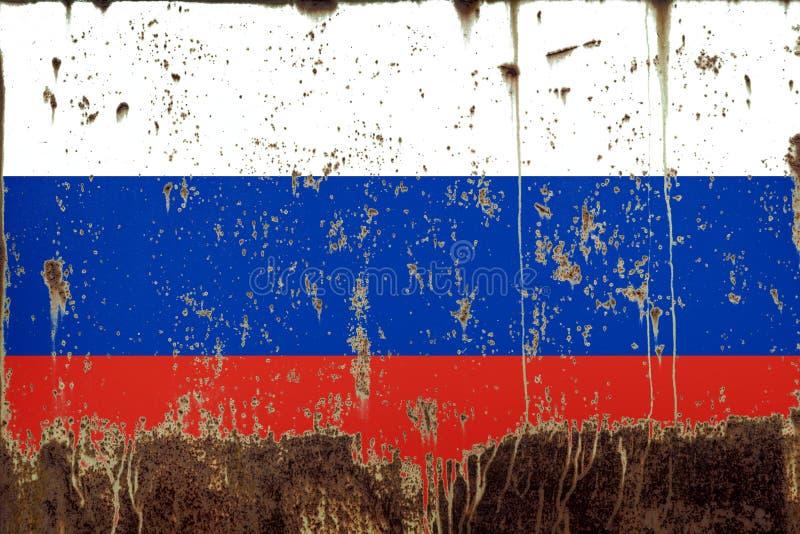 Национальный флаг России на текстуре металла стоковые фотографии rf