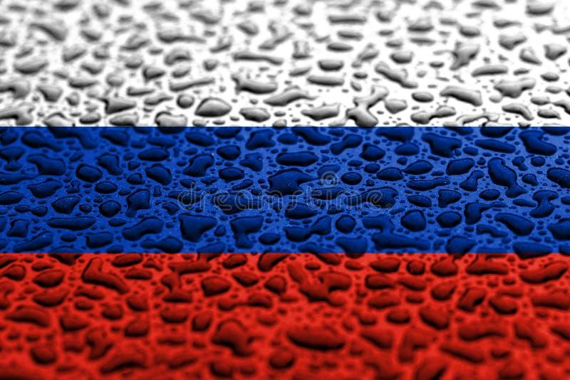 Национальный флаг России сделал падений воды Концепция прогноза предпосылки стоковое изображение