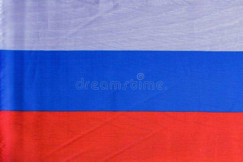 Национальный флаг России, текстуры предпосылки ткани стоковые изображения