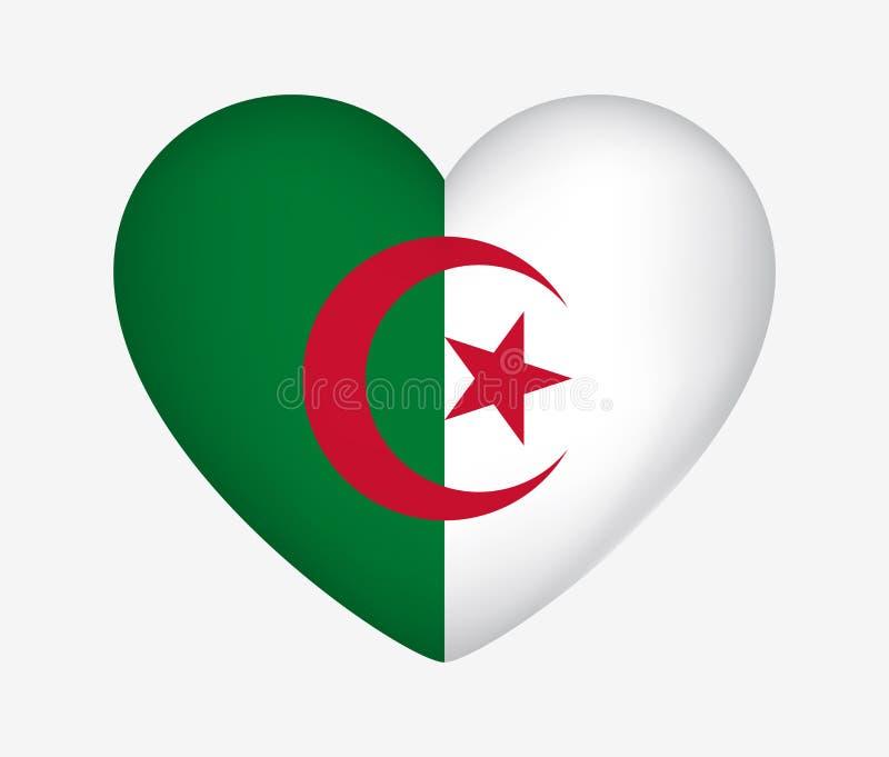 Национальный флаг сердца форменный Алжира Я люблю мою страну r иллюстрация вектора