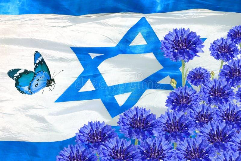 Национальный флаг цветков Израиля и весны голубых День независимости государства Израиля стоковые фотографии rf