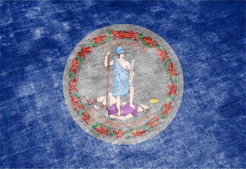 Национальный флаг штата США Вирджинии внутри против серой ветоши ткани в день независимости в других цветах сини иллюстрация вектора