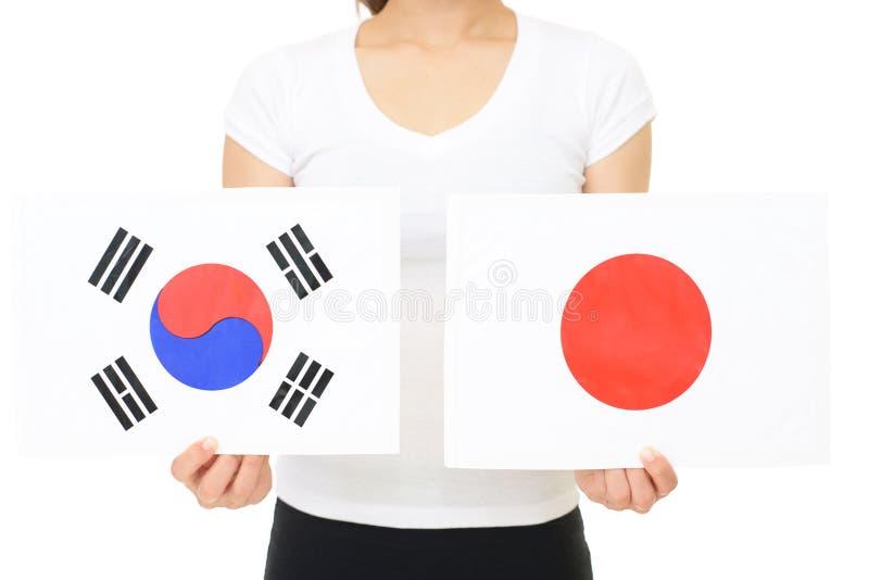 Национальный флаг Японии и Кореи стоковое изображение rf