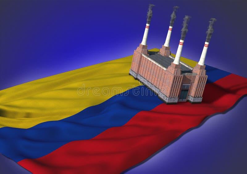 Национальная концепция тяжелой индустрии - колумбийская тема иллюстрация вектора