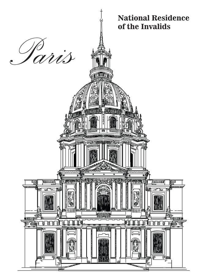 Национальная резиденция чертежа руки вектора Invalids- иллюстрация вектора