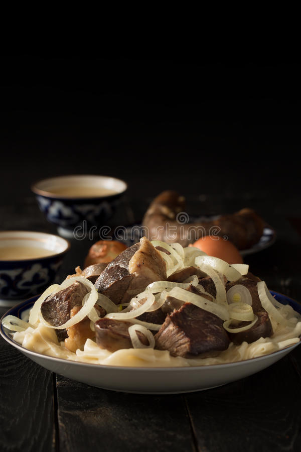 Национальное блюдо казаха - Beshbarmak стоковые изображения rf