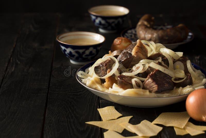 Национальное блюдо казаха - Beshbarmak стоковые изображения