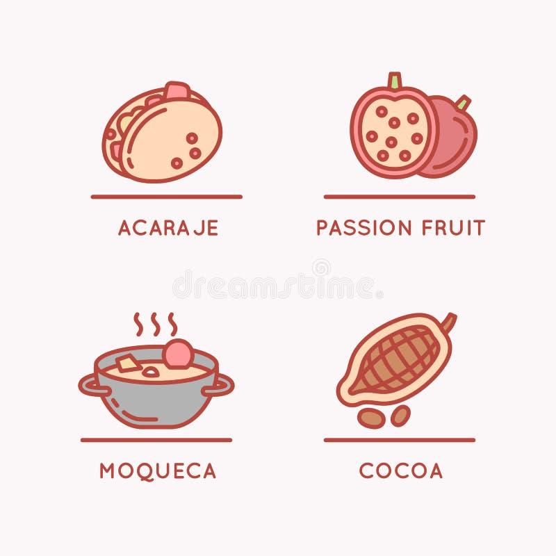 Национальные еда и плодоовощ иллюстрация вектора