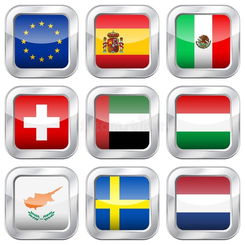 Национальные флаги металла квадратные иллюстрация штока