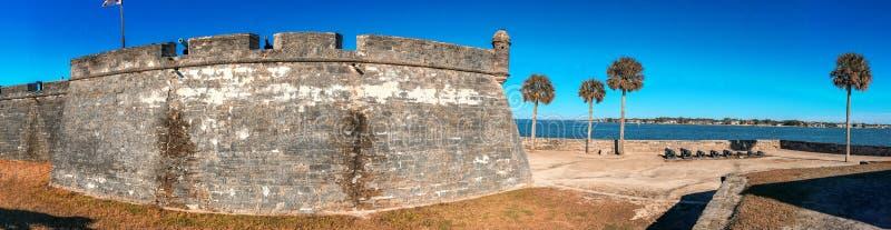 Национальный монумент Castillo de San Marcos, панорамный взгляд - Au St стоковое фото rf