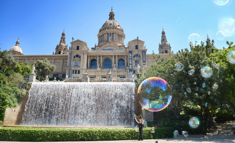 Национальный музей в Барселоне, Placa De Espanya, Испании, d'Art de Catalunya Museu Nacional стоковые изображения rf
