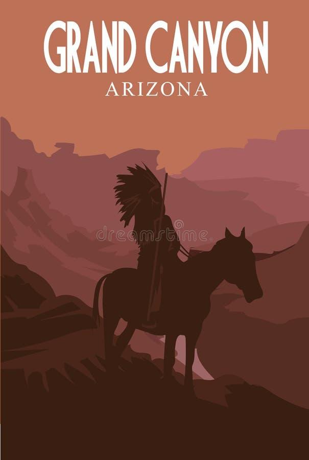 Национальный парк грандиозного каньона плакат ретро также вектор иллюстрации притяжки corel стоковое изображение rf
