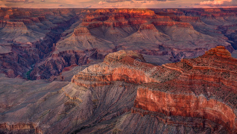 Национальный парк гранд-каньона, заход солнца, Аризона стоковые фотографии rf