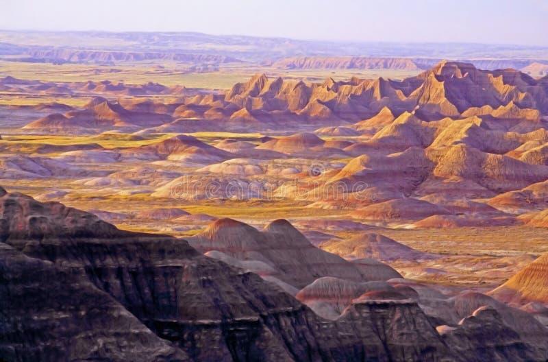 Национальный парк неплодородных почв - зарево захода солнца стоковые фотографии rf