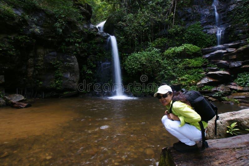 Национальный парк дождевого леса женщины Trekker стоковая фотография