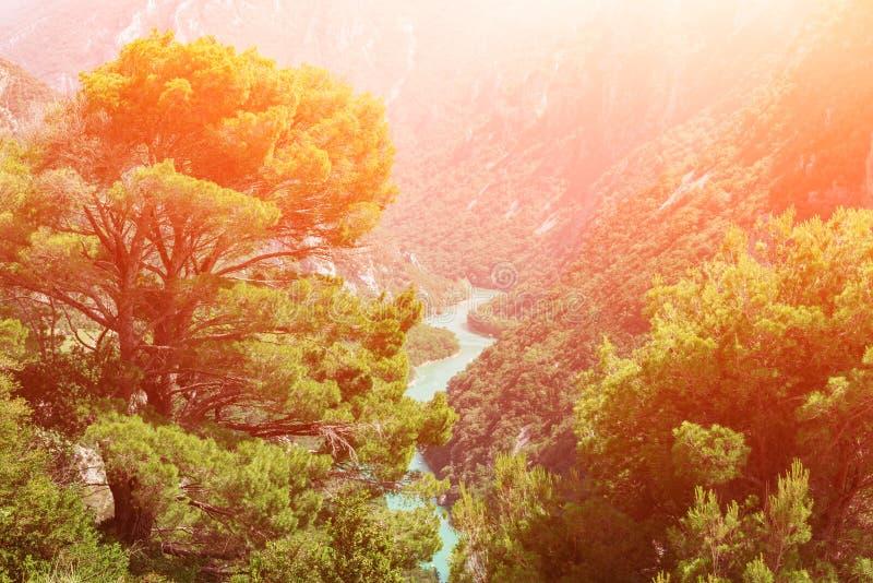Национальный парк ущелья Вердон, популярное туристское назначение в Провансали, Франции стоковое изображение rf