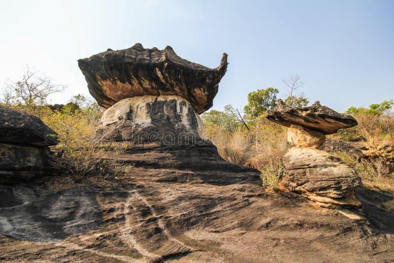 Национальный парк Phu Pha Thoep, Mukdahan, Таиланд стоковая фотография rf